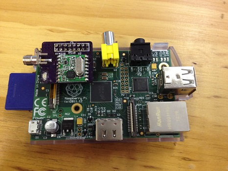 Board mounted on GPIO port of Raspberry Pi